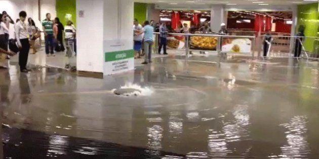 Após alagamento no Aeroporto de Brasília a 9 dias da Copa, técnicos trabalham para evitar