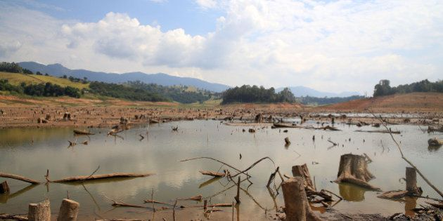View drought in Rio Jacarei, region of Joanopolis, interior of Sao Paulo, southeastern Brazil, on February...