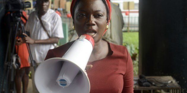 Nigerian campaigner Aisha Oyebode speaks to press for the release of the abducted Chibok schoolgirls...