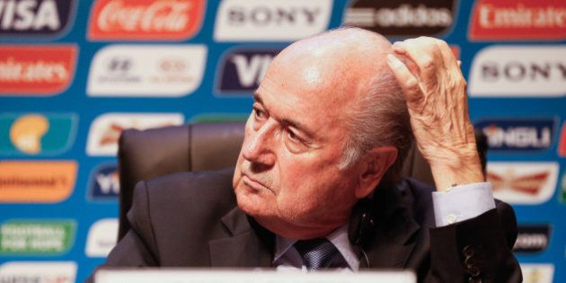 SAO PAULO, BRAZIL - JUNE 05: President of FIFA Joseph Blatter speaks to the media during a press conference...