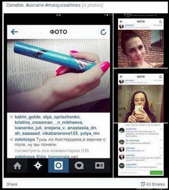 Ucraniana causa revolta nas redes sociais ao postar rímel de vítima de voo da Malaysia