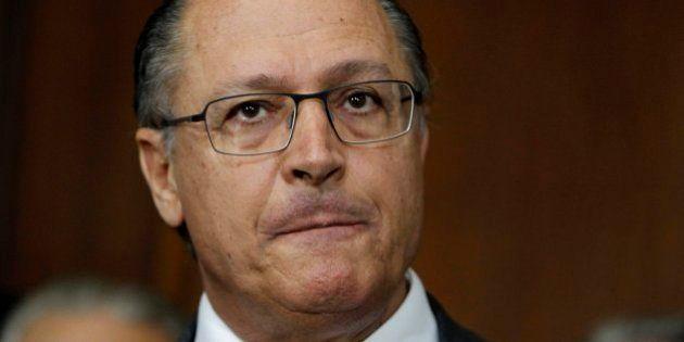 SAO PAULO, BRAZIL - JUNE 25: (BRAZIL OUT) Governor Geraldo Alckmin gives an interview at the Palacio...