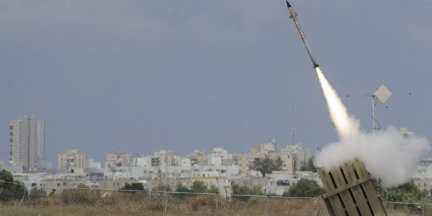 A missile is launched by an 'Iron Dome' battery, a short-range missile defence system designed to intercept...