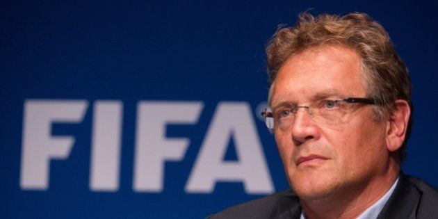 FIFA Secretary General Jerome Valcke gives a press conference at the end of a meeting of the FIFA Executive...