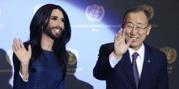 Vencedora do Eurovision, Conchita Wurst discursa contra violência de gênero ao lado de Ban
