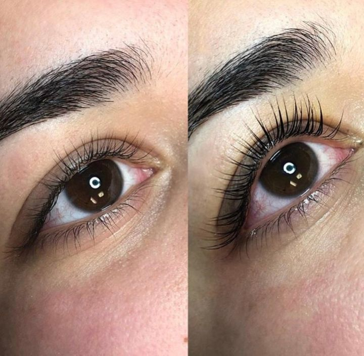 """A <a href=""""https://www.instagram.com/sugarlashpro/?hl=en"""" target=""""_blank"""" rel=""""noopener noreferrer"""">Sugarlash PRO</a> client's lashes before and after a lift treatment."""