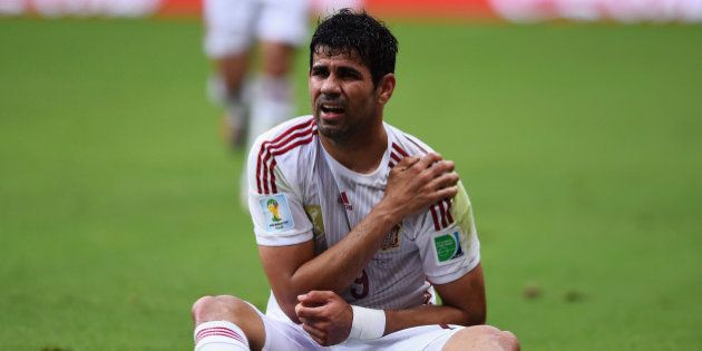 SALVADOR, BRAZIL - JUNE 13: Diego Costa of Spain reacts during the 2014 FIFA World Cup Brazil Group B...
