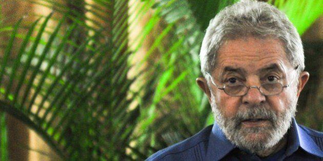 Former Brazilian president Luiz Inacio Lula da Silva speaks during a conference for businessmen at the...