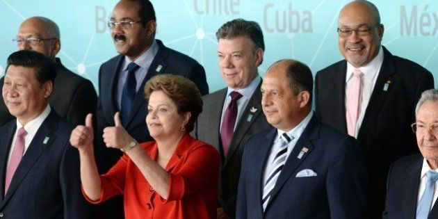 (Front row L to R) China's President Xi Jinping, Brazilian President Dilma Rousseff, Costa Rica's President...