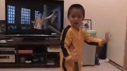 Pequeno fã do Bruce Lee é um mestre dos