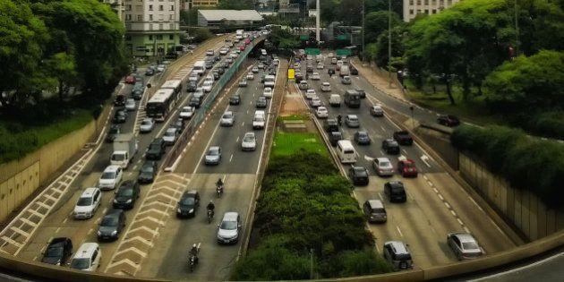Anhangabau Tunnel and 23 de Maio Avenue viewed from Viaduto do Chá in Downtown Sao Paulo, Brazil.It's...