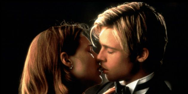 341913 02: Actors Brad Pitt and Claire Forlani in a romantic scene from the film 'Meet Joe Black.' (Photo by Liaison)