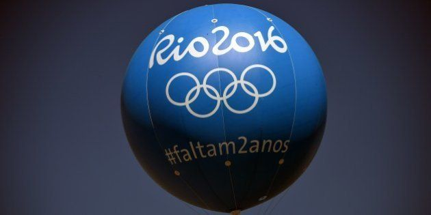View of a balloon depicting logo of the 2016 Olympic Games, on the eve of the day that marks two years...