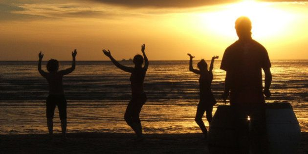 ...met up with the others and joined the drummer to dance the sunset away. Then I continued on home....