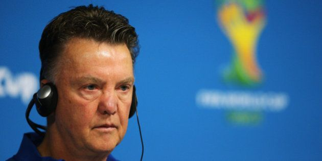 SAO PAULO, BRAZIL - JUNE 22: Louis van Gaal, team manager gets ready to speak to the media during the...
