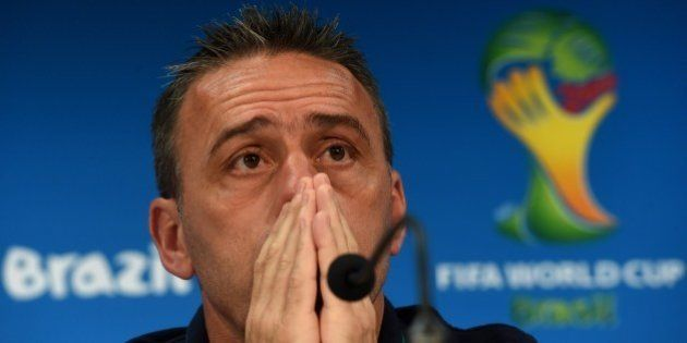 Portugal's coach Paulo Bento gestures as he attends a press conference at The Arena Amazonia in Manaus...