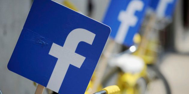 Bicycles are festooned with the Facebook logo during the Facebook
