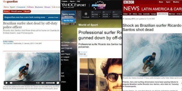 Assassinato do surfista Ricardo dos Santos, o Ricardinho, é destaque na imprensa