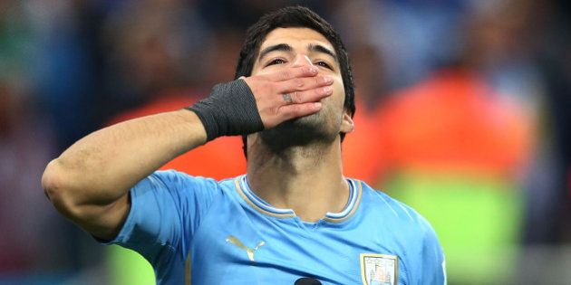 SAO PAULO, BRAZIL - JUNE 19: Luis Suarez of Uruguay gestures during the 2014 FIFA World Cup Brazil Group...