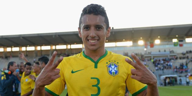 AVIGNON, FRANCE - JUNE 01: Marquinhos of Brasil celebrates their victory during the Final of the Toulon...