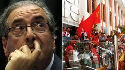 'Fora Cunha': Manifestantes atacam presidente da Câmara até com bola de