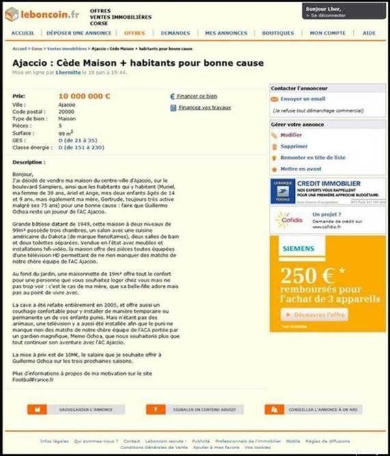 Por Guillhermo Ochoa, torcedor do time francês Ajaccio coloca mansão e família à venda no Bomnegócio.com...