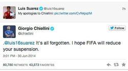 Suaréz pede desculpas para Chiellini: