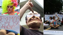 Protesto, cobrança e zoeira marcam 'banho coletivo' na casa de
