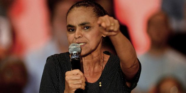 (FILE) Brazilian former senator and former presidential candidate Marina Silva delivers a speech during...