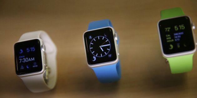 NEW YORK, NY - APRIL 10: The new Apple Watch is viewed at an Apple store in Manhattan on April 10, 2015...