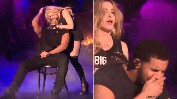 Rapper Drake faz cara de desgosto com beijo de Madonna durante