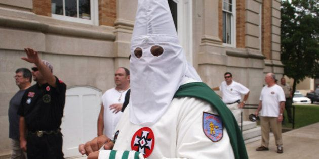 PULASKI, TN - JULY 11: Members of the Fraternal White Knights of the Ku Klux Klan participate in the...
