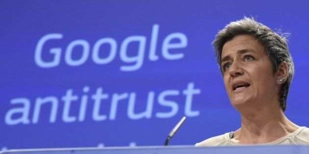 European competition commissioner Margrethe Vestager speaks on April 15, 2015 in Brussels as the EU formally...