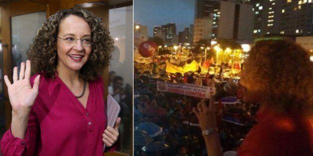 Luciana Genro marca presença no protesto contra a Lei da Terceirização em