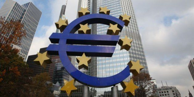 The EURO logo is pictured in front of the European Central Bank, ECB in Frankfurt/Main, central Germany,...