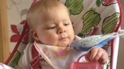 Bebê faminto brinca com passarinho e...tenta