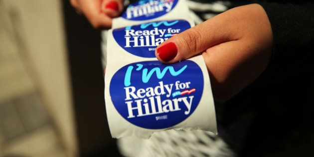 NEW YORK, NY - APRIL 11: Stickers are handed out to supporters of Hillary Rodham Clinton's yet to be...