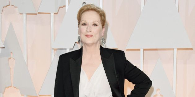 HOLLYWOOD, CA - FEBRUARY 22: Actress Meryl Streep attends the 87th Annual Academy Awards at Hollywood...