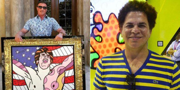 Sylvester Stallone ganha retrato pintado por Romero Britto e internautas abusam da