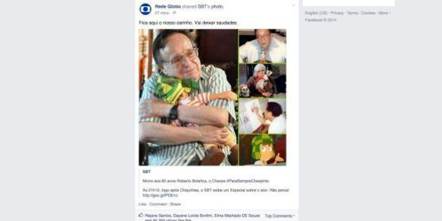 Por morte de Roberto 'Chespirito' Bolãnos, página oficial da Globo no Facebook compartilha um post do...