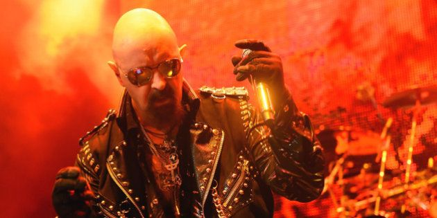 LAS VEGAS, NV - NOVEMBER 14: Singer Rob Halford of Judas Priest performs at The Pearl concert theater...