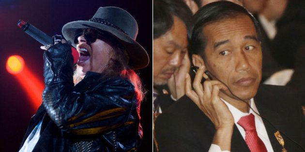 Líder do Guns N' Roses, Axl Rose critica 'covardia' do presidente Joko Widodo por não voltar atrás em...
