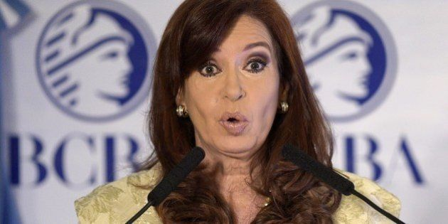Argentine President Cristina Fernandez de Kirchner delivers a speech during a ceremony commemorating...
