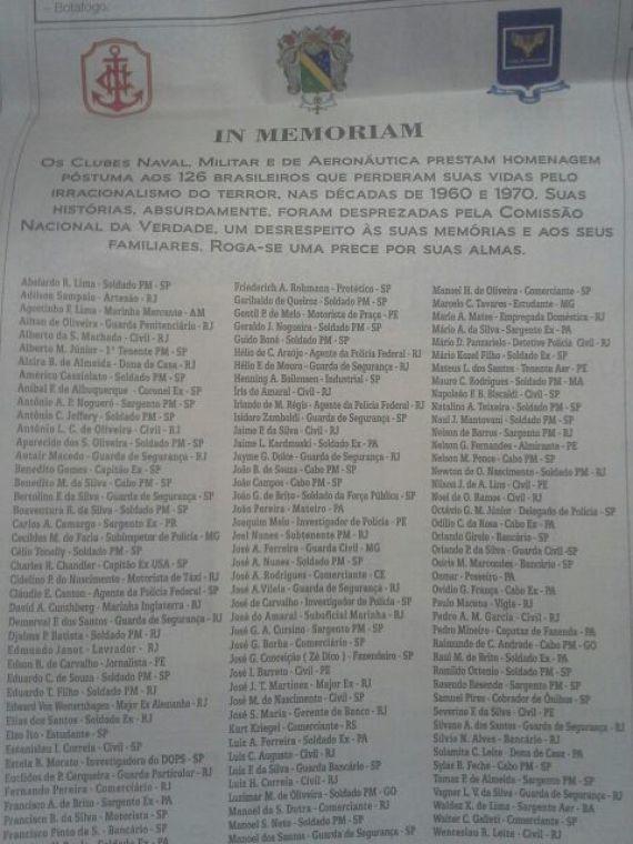Militares publicam anúncio com lista de 'vítimas do terror' e dizem que Comissão da Verdade cometeu