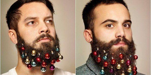 Se você quer inovar neste Natal, talvez a solução seja... usar bolinhas de Natal na barba