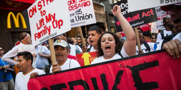 NEW YORK, NY - SEPTEMBER 04: Protesters demanding higher wages and unionization for fast food workers...