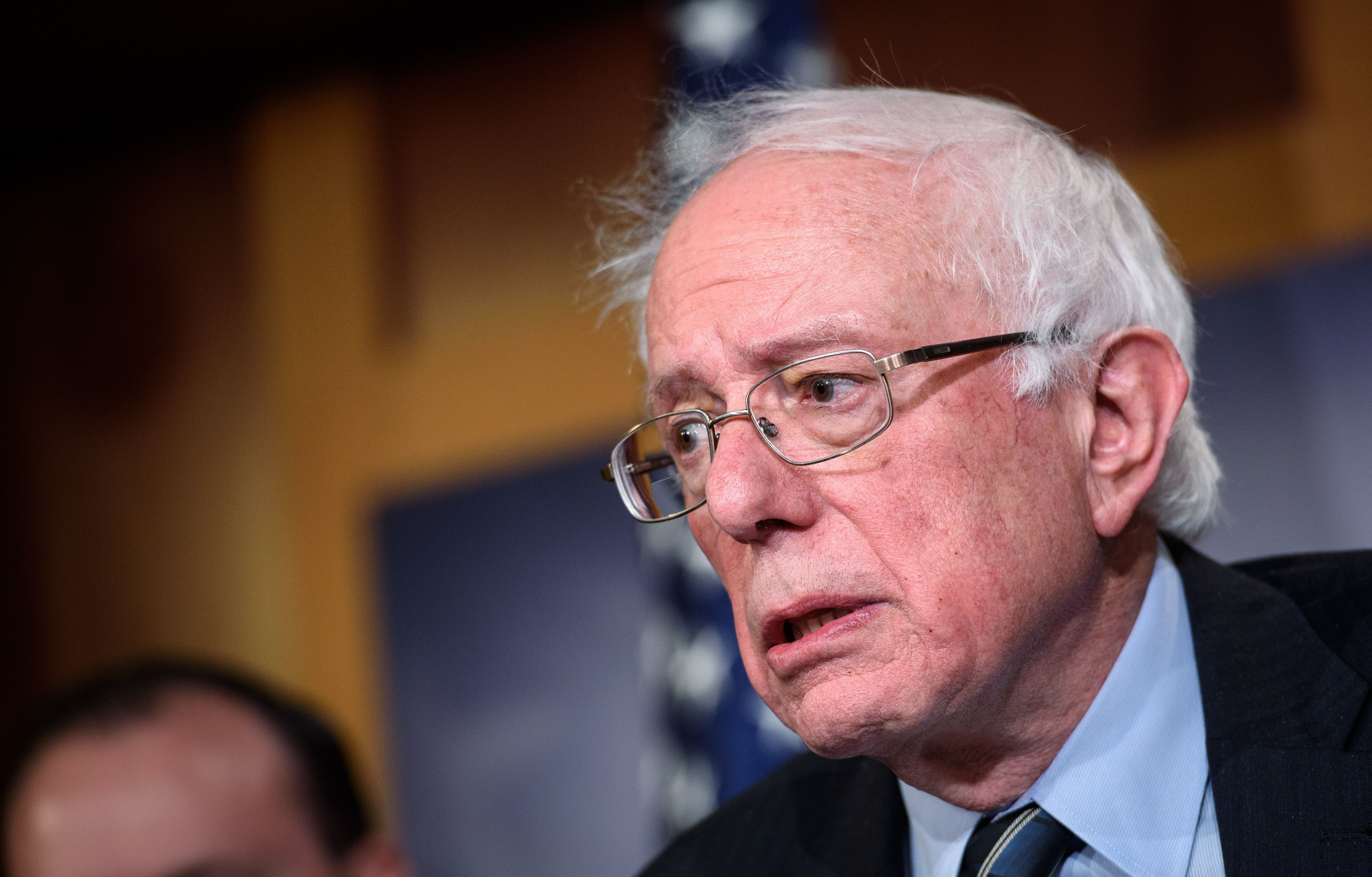 Senator Bernie Sanders, I-VT, speaks after the Senate voted to withdraw support for Saudi Arabia's war in Yemen, in the Senate TV studio at the US Capitol in Washington, DC on December 13, 2018. - The US Senate sent a fresh warning to President Donald Trump and Saudi Arabia Thursday by approving a resolution to end US military support for Riyadh's war in Yemen. The largely symbolic resolution cannot be debated in the House of Representatives before January, and would likely be vetoed in any case by Trump, who has repeatedly signaled his backing for the Saudi regime. (Photo by MANDEL NGAN / AFP)        (Photo credit should read MANDEL NGAN/AFP/Getty Images)