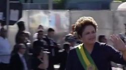 ASSISTA: Dilma 'participa' de desfile cívico ao som de