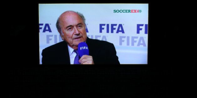 MANCHESTER, ENGLAND - SEPTEMBER 08: FIFA President Joseph S. Blatter appears on screen in a recorded...