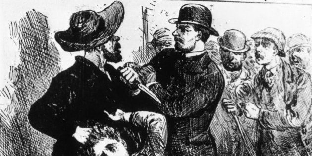 1889: A fanciful engraving showing 'Jack The Ripper', the east end Murderer of prostitutes in the nineteenth...